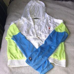 Champion mesh colour block zip front lightweight hooded jacket xs